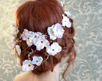 Circlet, flower crown, wedding headband, fairy crown, woodland wreath, bridal headpiece, wedding accessories - Moon harvest