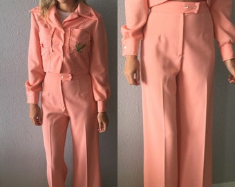 Vintage 1970's High Waisted Wide Leg Pink Pants