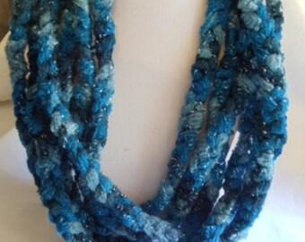 19' Blues Scarf, scarf, crocheted, blue