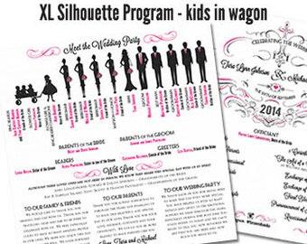 Silhouette Wedding Program Fan Shimmer Wedding Program Fan Traditional Wedding Program