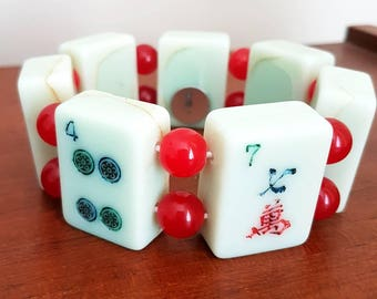 Mahjong bracelet / mint green catalin tiles / cherry red beads /  free gift bag / fits medium to large wrists