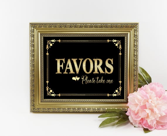 Printed Black and Gold Favors Sign