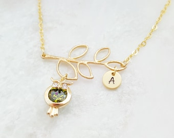 Stamped Owl Necklace - Bird Initial Necklace - Tree Branch Necklace Personalize - Green Tourmaline Jewelry Gift - Gold Cubic Zirconia N2468