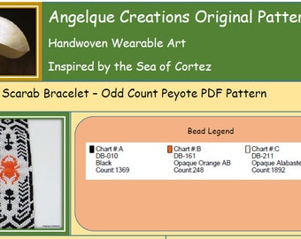 Egyptian Scarab, Bead Woven, Odd Count, Peyote, PDF Pattern, Instand Down Load, DIY