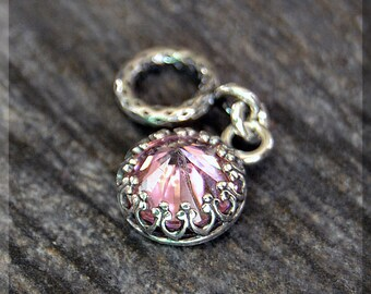 Sterling Silver European Style October Birthstone Charm, Gemstone Slide Charm, Personalized Charm, Big Hole Bead, Pink CZ Slider Charm