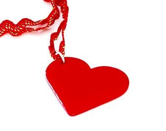 Red heart statement necklace ceramic pendant - ceramic jewelry, gift for her, heart pendant, statement jewelry, boho jewelry, Valentines day