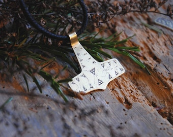 "Pendant/amulet viking ""Thunder"" etched brass and cotton cord. Thor's hammer. Mjölnir. Pagan. Norse mythology"
