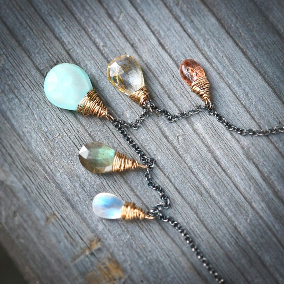 Gatherings - Blue Peruvian Opal Labradorite Moonstone Gold Rutilated Quartz and Sunstone Wire Wrapped Mixed Metal Necklace