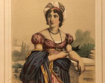 J. Champagne, Lady in Regency Dress with Turban