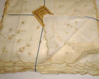 Vintage Handkerchief Set of 10. Embroidered. Portugal. Madeira. 1940s. 13 by 13. Unused