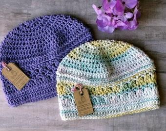 Crochet Spring Beanie, Cotton Chemo cap, AmazingGrace Blissful Beanie, light beanie, ladies beanie,  52 colors, crochet women's hat