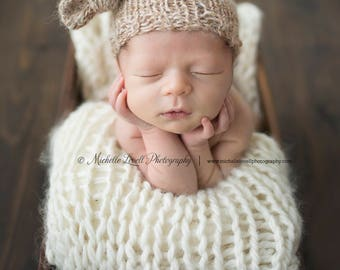 Hand Knit Luxury Newborn Sleep Cap, Ready to Ship Item