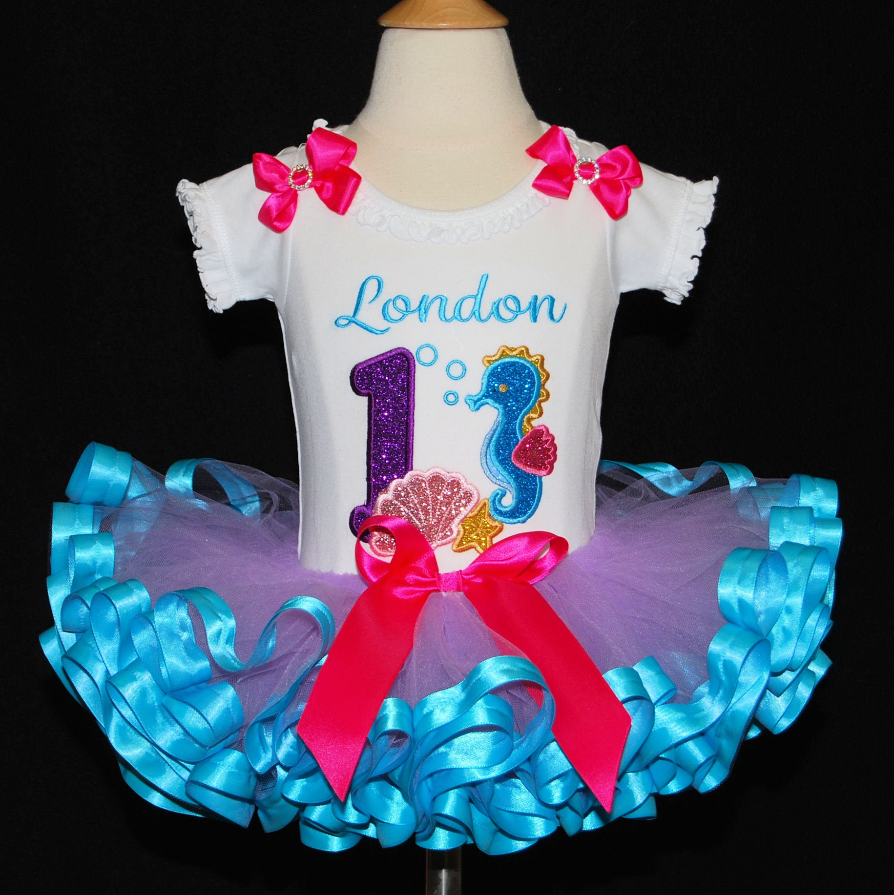 3de26f1d1 Sparkle under the sea, birthday outfit, first birthday tutu outfit,  personalized birthday outfit