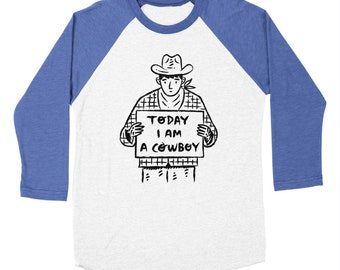 Today I am a Cowboy - Long Sleeve Baseball Triblend T-Shirt - Tee - Men's T-shirt by Oliver Lake - iOTA iLLUSTRATiON