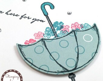 Here For You Handmade Greeting Card - Stampin' Up Weather Together Umbrella