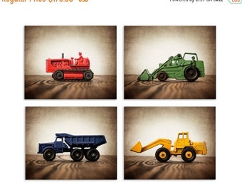 FLASH SALE til MIDNIGHT Four  Canvases Ready to Hang, Vintage Construction Vehicles in Primary Colors, On Barnwood, Diggers, Wall Art,  Kids