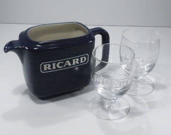 Vintage French Ricard Blue Ceramic Jug and Glass Set, Medium Pitcher and Ricard Shoot Glasses. Cadeau Souvenir de Provence