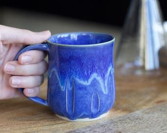 Blue Handmade Mug, Blue Pottery Mug, Ceramic Coffee Mug, Large Handmade Stoneware Mug, 11oz