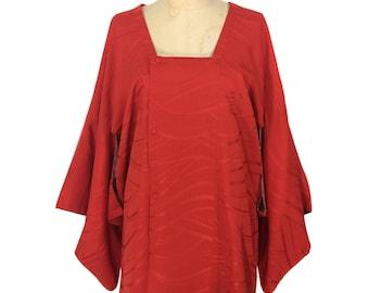 vintage red silk haori jacket / short kimono robe / Asia Asian Japan Japanese / vintage lingerie / size large