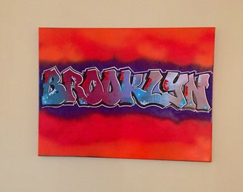 Brooklyn Graffiti Art Canvas, Brooklyn Art, Brooklyn Graffiti Art, Brooklyn Gifts, Brooklyn Graffiti Painting, Brooklyn Artwork Gift,
