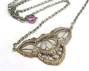 Steampunk Necklace, Art Nouveau Necklace, Swarovski Crystal, Chain Necklace, Vintage Necklace, Art Deco Necklace, Victorian Style Necklace