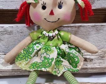 Raggedy Annie Primitive Dolls Lil Lilly Annie Raggedy Ann Doll Green Floral Dress Annie Doll