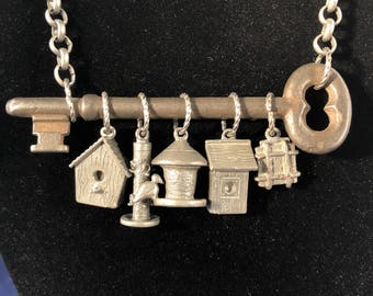 Key Charm Necklace - Bird House Necklace - Bird Charm Necklace - Skeleton Key Necklace - Charm Necklace -