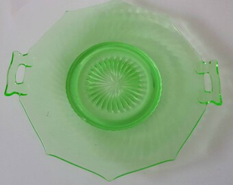 Vaseline glass tidbit tray/uranium glass/1920's/large tray/handled tray/antique/beautiful condition