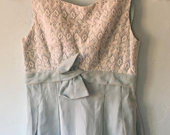 Vintage Light Blue Lace Empire Waist Maxi Dress