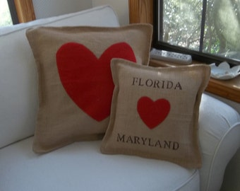 Custom Sizes Red Heart Burlap Pillow Personalized Love Pillow Christmas Decorations Valentines Day Decor Handmade Decorative Pillow
