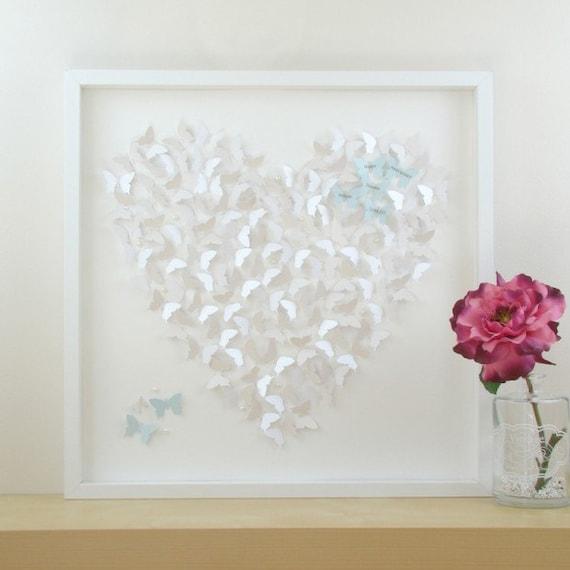 Framed Wall Art Personalised Framed Art. 3D Butterfly Heart