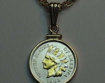 Old U.S. Indian penny  Necklace - 2-Toned Gold & Silver coin