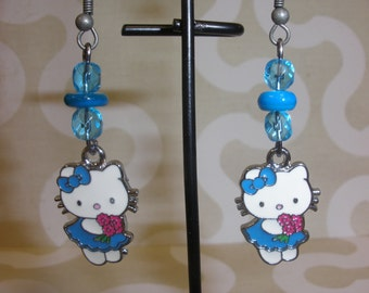 Blue Kitty Cat Earrings