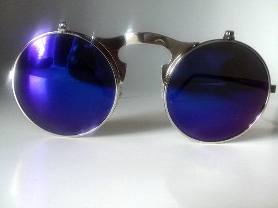 Flip Up Sunglasses Electric Blue Rocker Chic