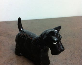 Vintage Dog Figurine - Scottish Terrier - Black Ceramic Scottie - Dog Ornamnet - Gift for the Collector
