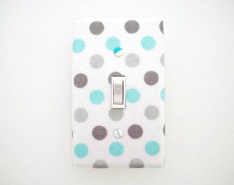 Aqua Grey Light Switch Cover - Polka Dots Nursery Decor - Aqua Gray Switch Plate - Boys Nursery Switch Plate - Aqua Grey Outlet Cover