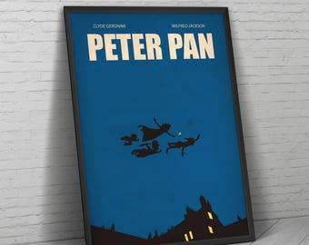 Peter Pan, Peter Pan Poster, Peter Pan Print, Tinkerbell, Minimalist Print, Peter Pan Art, Peter Pan Gift, Disney Print, Neverland,