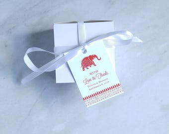 Indian Wedding Favor Tag - Elephant - Hindu Wedding - Bridal Shower Tag - Baby Shower Thank You Tag - 2 x 3 Inch
