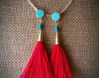 Red tassel earring, turquoise earring, turquoise post earring, gold earring, dangle post earring, tassel earring