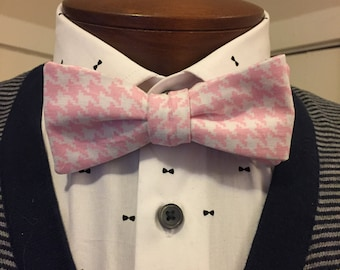 Handmade Pink Houndstooth Cotton Bow Tie