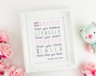 Kids Bedroom Decor, Lavender Nursery Art, Winnie the Pooh Art Quote, You Are Braver Than You Believe, Inspirational Art Print, Printable Art