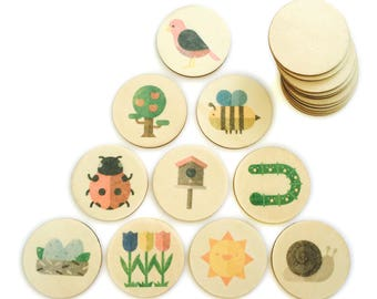 in the garden - memory match | my little set | wooden game | story stones | memory match |