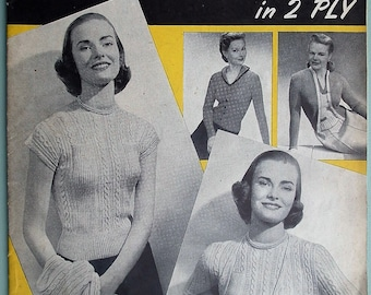 Vintage 1940s 1950s Knitting Patterns Book Booklet - Twin Sets in 2 Ply Weldon's 288 UK Women's Sweaters Cardigans 40s 50s original patterns