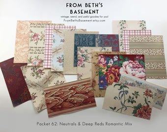 Designer Wallpaper Sample Pack - Wallpaper Sheets for Scrapbooking & Cardmaking - Eclectic Shabby Chic Mixes for Valentines - Your Choice
