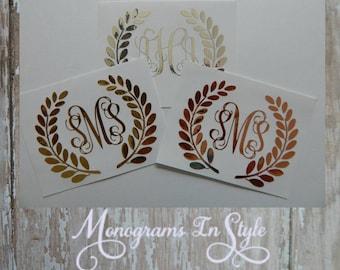 Laurel Wreath Monogram Decal, Laurel Monogram, Chrome Monogram, Yeti Decal, Laptop Monogram, Gold Monogram, Silver Monogram, Rose Gold