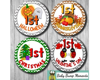 First Holiday Stickers, Baby Holiday Sticker, First ,  Gift for New Mom, Baby Milestones, Baby Shower Gift
