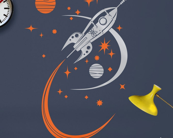 rocket ship wall decal, mid century space ship vinyl art, retro rocket sticker art, boys room, girls room