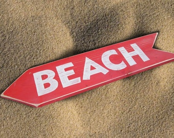 Beach Sign red and white
