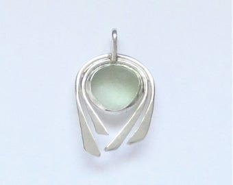 Sea Glass Jewelry - Sterling Seafoam Sea Glass Pendant