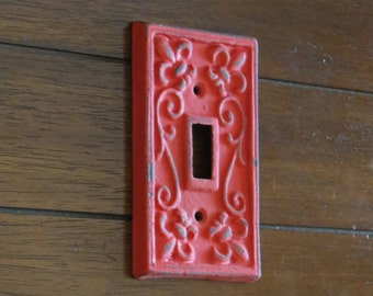 Light Switch Cover/Metal Switchplate/Switch Plate/Fleur de lis/Shabby Chic Home Decor/French Country Wall Decor/Apple Red or Pick Color